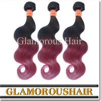 Super Deals!!! 3 Bundles per lot Ombre Hair Weft, #1B Burgundy 2 Tones Color Body Wave Brazilian Virgin Hair