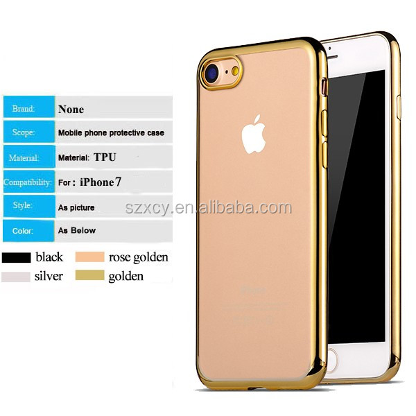 Crystal clear transparent electroplating soft TPU cell phone case for iPhone 7 4.7 inch