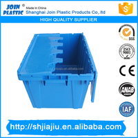 Fixed lockable security lid plastic crate