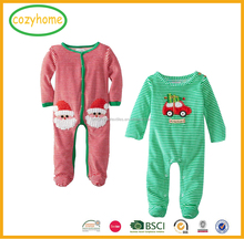Amazon Hot Sale Top new arrival infant baby christmas rompers kids footed bodysuits green and white stripes rompers