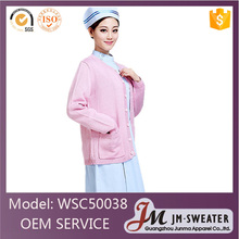 Custom designs knitted staff outerwear pink cotton thick hospital uniform for nurse