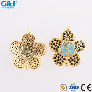 guojie brand Wholesale new design Clover Flower Turquoise CZ micro pave charm pendant jewelry