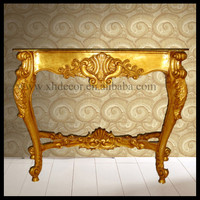 French Neo Classical Louis XVI Style Console Carved Gold Finish wood carved console table
