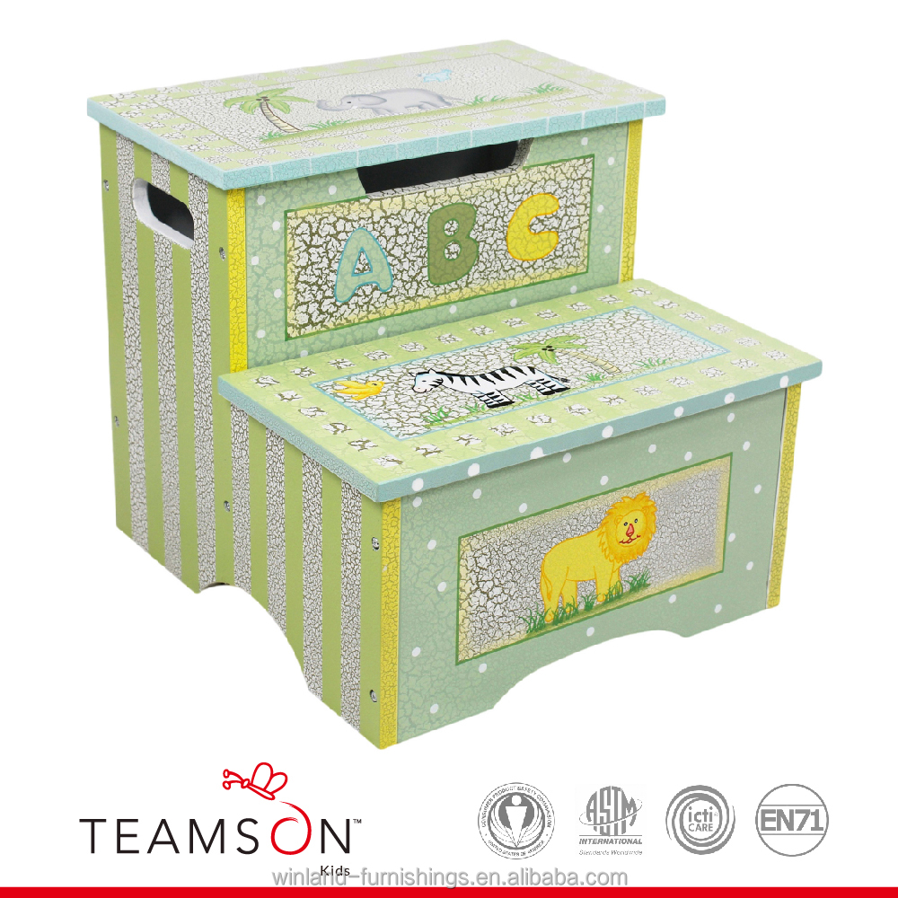 Teamson Kids- Safari Crackle Step Stool with Storage