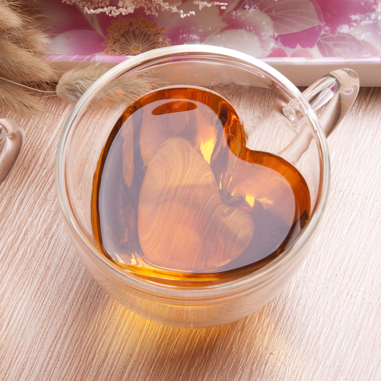 Handmade double wall heat resistant glass tea cup heart Shaped coffee mug