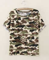 Wholesale Women's Camo Custom Design 65 Polyester 35 Cotton Camouflage T Shirt