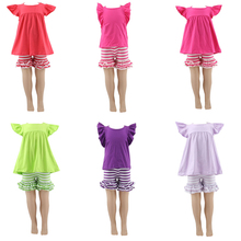 Fashion children boutique stripes baby wear girls spring 2016 pajamas set cute baby cheap wholesale ruffle clothing