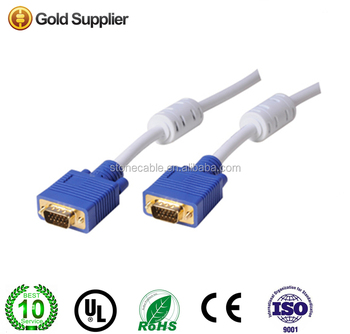 VGA Monitor Male to Male Extension Cable - white + Blue (1.5m) 24K gold