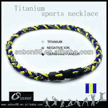 Titanium Ionic Baseball Laces Braided Necklace:Sports & Outdoors green/yellow