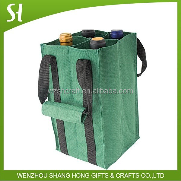 Alibaba China Durable 600D Polyester 6 pack wine bag with reinforced long handles