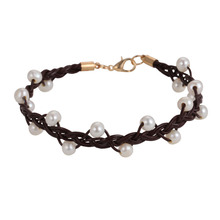 Jewelry accessories italian leather hottest Weaving fashion Natural freshwater pearls bracelet