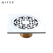 Building accessory 10x10cm quick connect chrome plated smart shower floor drains