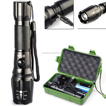 800 Lumens XM-L T6 LED Adjustable Focus Rechargeable Flashlight Lamp Light with 18650 Battery & Chargers