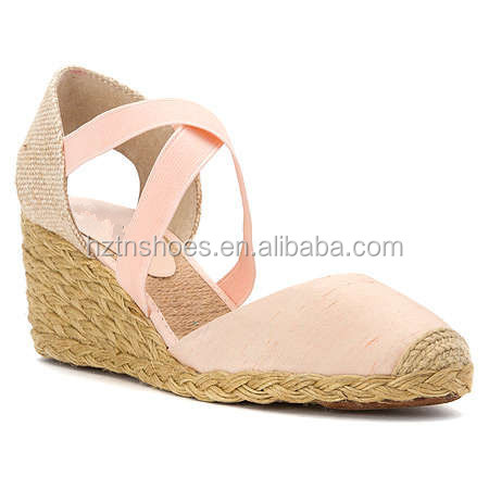 Summer new womens closed toe sandals jute roped wedges espadrille for ladies cross elasic strap tie sandalias