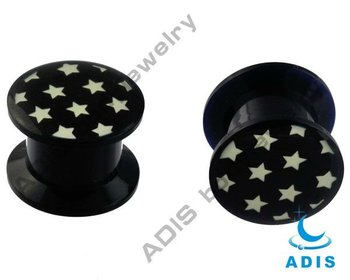 Wholesle new design body jewelry piercing black acrylic epoxy resin plug