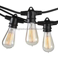 48ft Black Commercial Medium Suspended Vintage Edison Bulb String Lights Outdoor