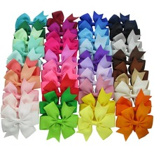 Wholesale 40 Colors 3'' Grosgrain Ribbon Pinwheel Boutique Hair Bow Clips For Baby Girls Teens Toddlers Kids Children