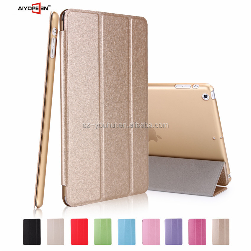 High Quality Silk Design PU Leather Automatically wake up Case for iPad Mini 1 2 3 With Transparent PC Back Case in Stock