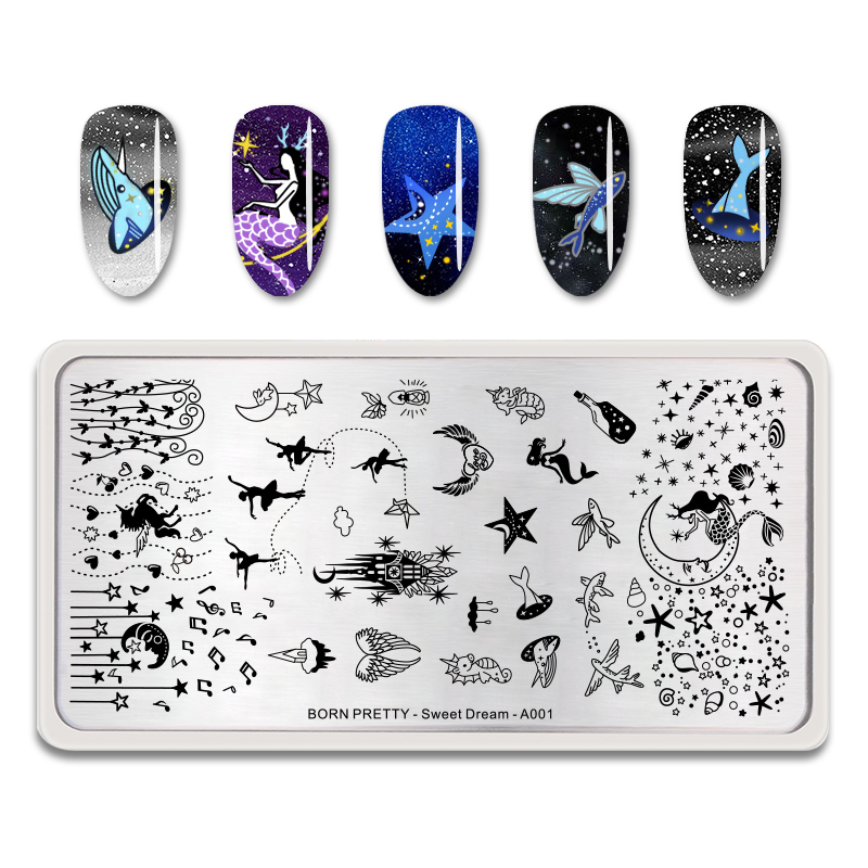 BORN PRETTY Nail Stamping Plate Fishes Dolphin Nail Art Image Plates Sweet Dream Series <strong>A001</strong>