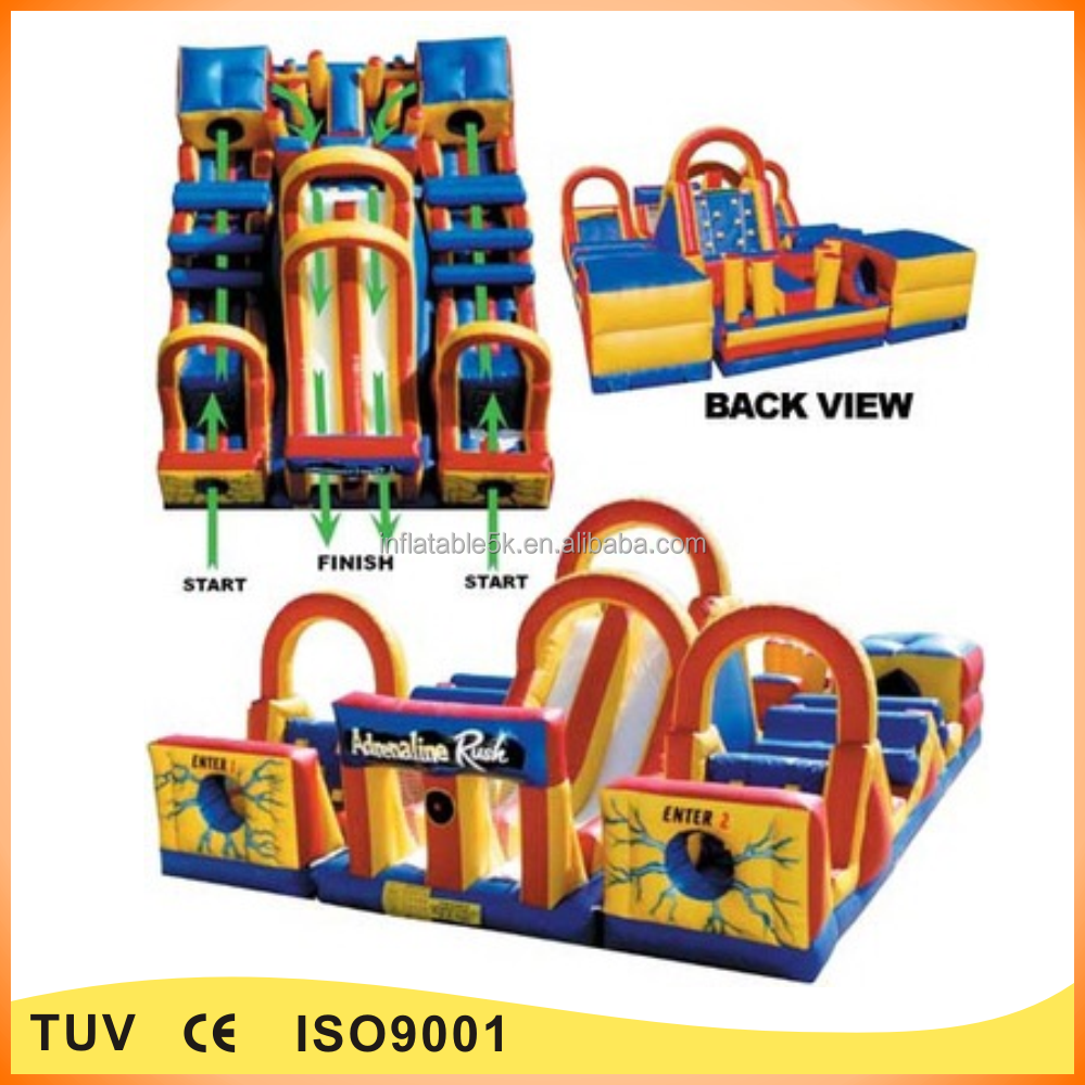commercial giant boot camp inflatable adrenaline rush obstacle course for sale