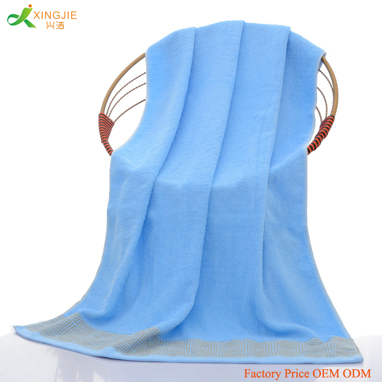 bulk wholesale plain dyed 100% cotton bath beach towel set with dobby border