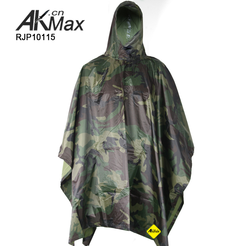 OEM factory military poncho waterproof breathable camouflage rain poncho adult waterproof poncho