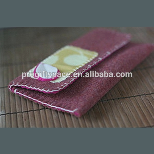 New products unique custom handmade polyester mobile sleeve dollars wallet wool fabric phone case factory wholesale price