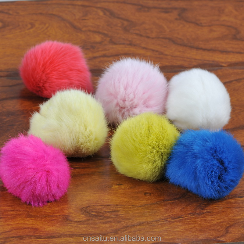 9cm factory wholesale rabbit fur pom poms dyed fox fur pompons raccoon fur balls for bag charm keychains knitted beanie hat
