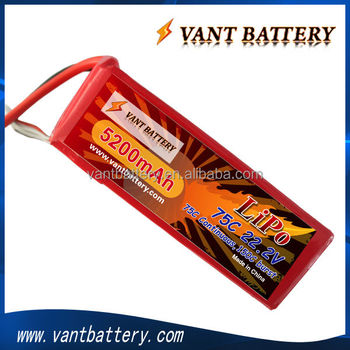 High Rate 6S 22.2V 5200MAh 75c RC lipo battery for RC Helis/Airplanes/boats with high quality