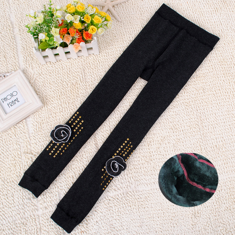 Winter Velvet Thick Rhinestone Rose Multi Color Girls Leggings B9327
