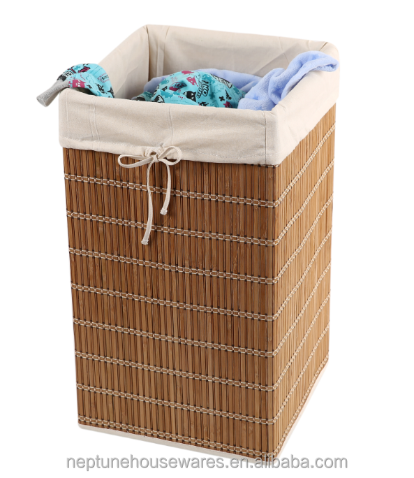 Bamboo Wicker Square Hamper Folding laundry baskets