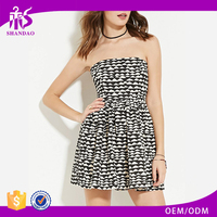2016 China OEM/ODM Supplier Summer Modern Custom Printed 100%Rayon Strapless Ruffle New Model Casual Dresses