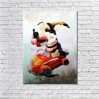Animal canvas wall art Pet dog drive car wall art pictures for hotel abstract oil painting