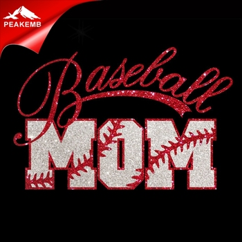 Printable Glitter Vinyl Baseball Mom Iron on Transfer Applique for tshirt