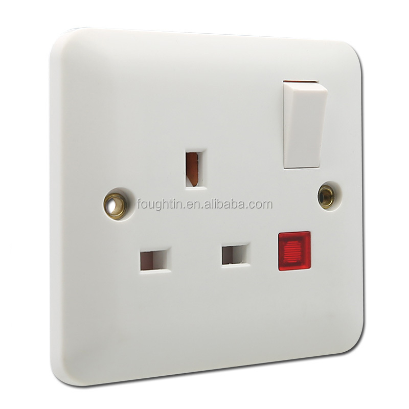 13 Amp switched socket with light wall switch socket