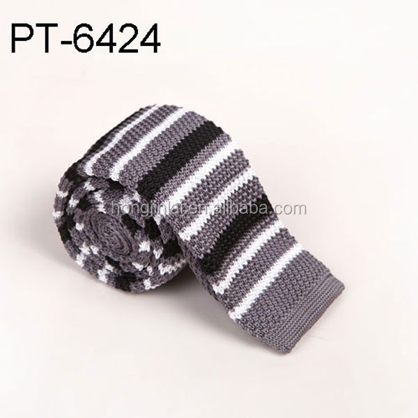 Casual Stripe Patterned Knit Neck Tie grey black and white mix color pt6424