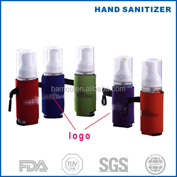 new fragrant 60ml foaming hand sanitizer spray 2 oz in neoprene holder