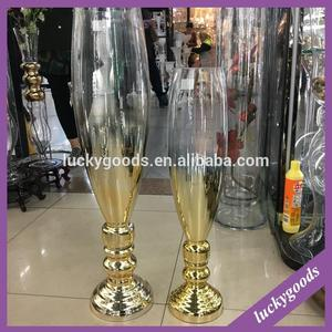LHP030 wedding table center decoration gold tall trumpet glass vases