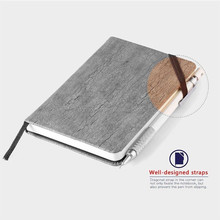 A5 size Wood grain PU leather stone paper notebook with elastic band and ribbon bookmark