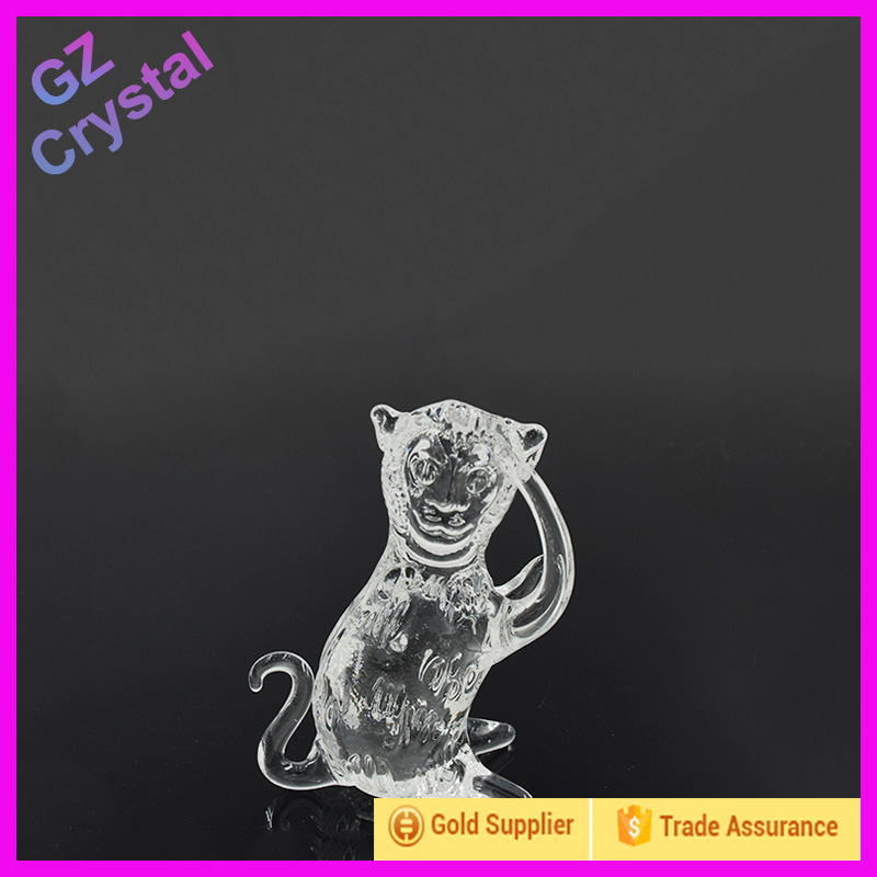 Crystal monkey model with base for personalized words for twelve Chinese zodiac signs