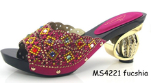 Mikemaycall Italian brand name leather shoes with stones high quality shoes for women MS4221 fuchsia
