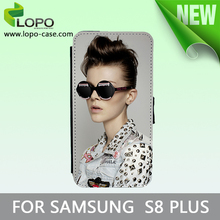 High Quality Sublimation Printable Leather Flip Phone Case for Samsung S8 Plus