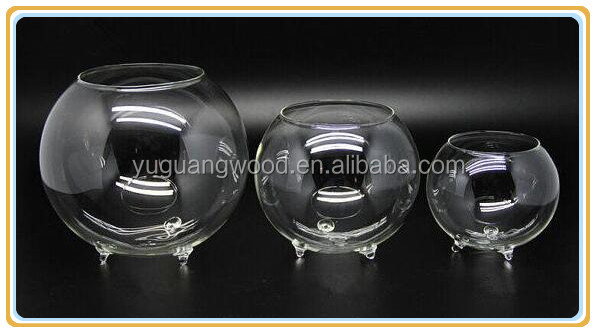 Large Opening Round Footed Orb / Tabletop Mini Glass Fish Bowl
