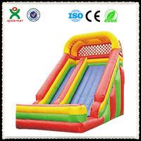 Colorful Rainbow shape residential cheap inflatable bouncy water slide for sale (QX-115B)