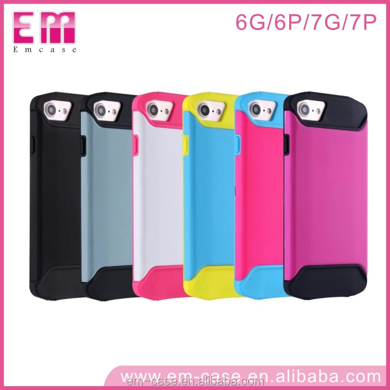 PC+Silicone Hard Case for iphone 7 Plus ,shockproof Mobile Phone Cover Case for iphone 7 plus