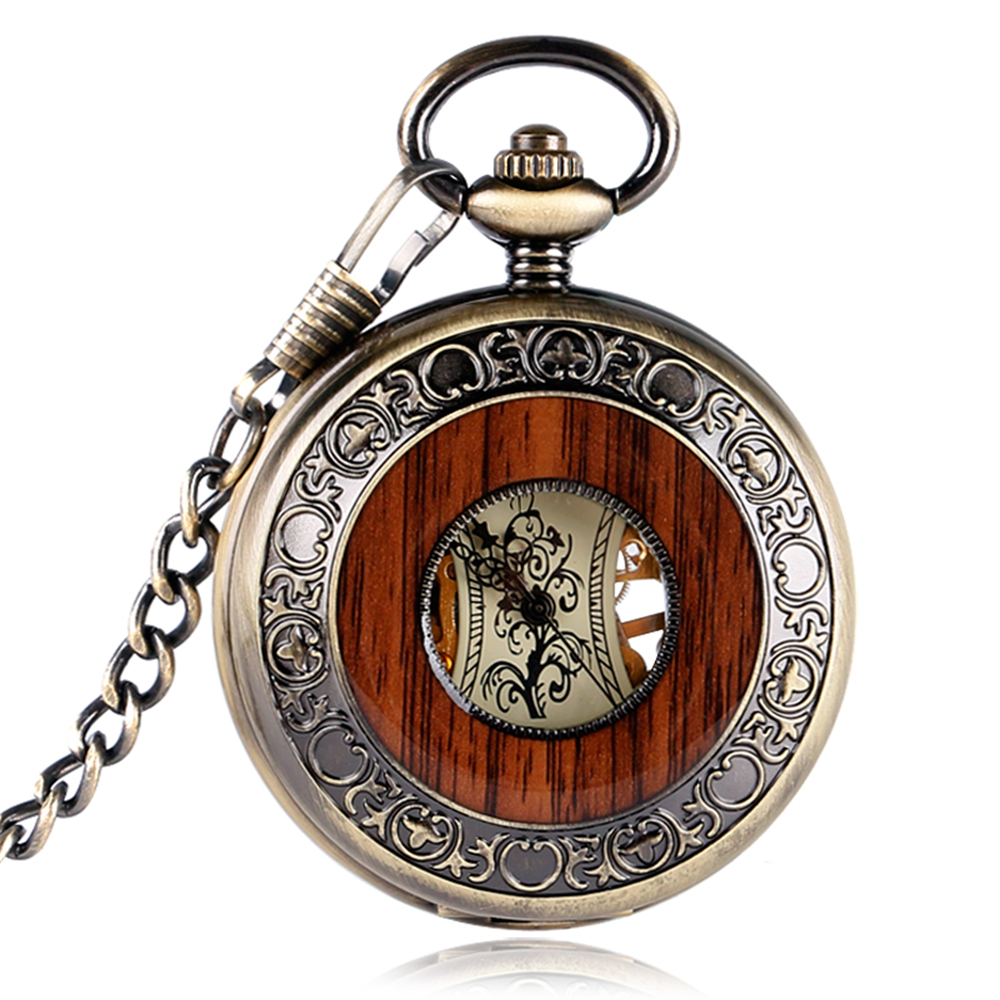 Retro Luxury Wood Skeleton Pocket Watch Men Mechanical Hand-winding Roman numerals Father day Gift