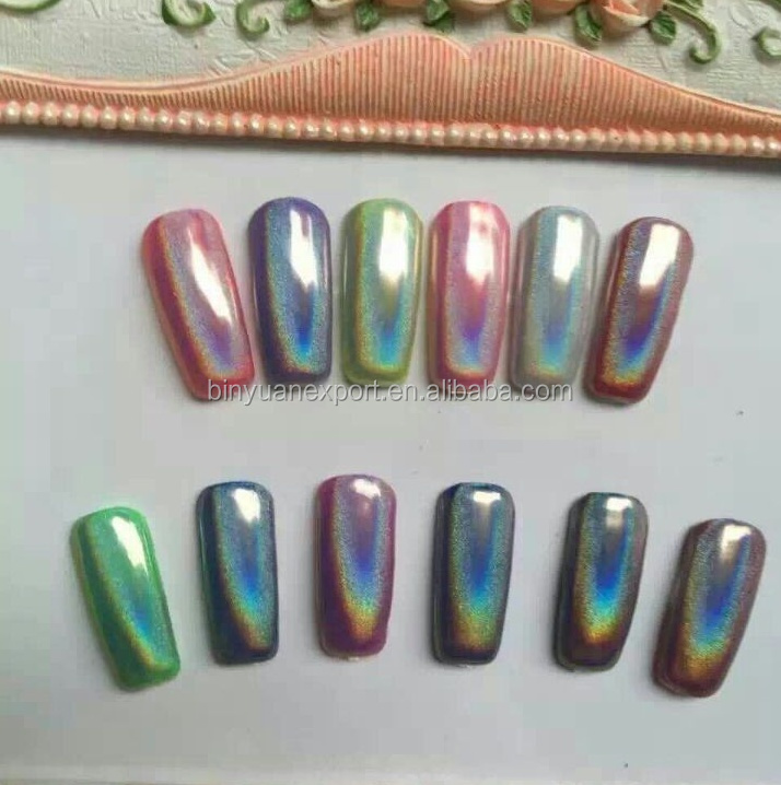 BIN Laser Holographische Nagel Pulver Regenbogen Chrom Nagel Pulver Maniku00fcre Pigment ...