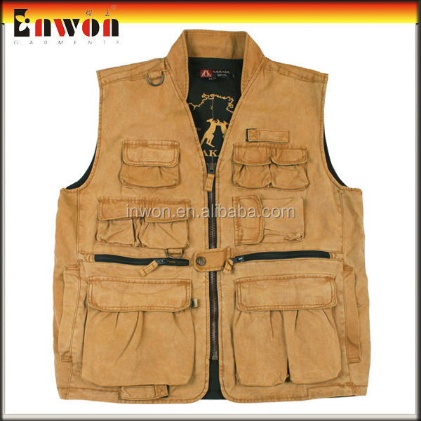 Custom made waterproof safety uniform black fishing vest
