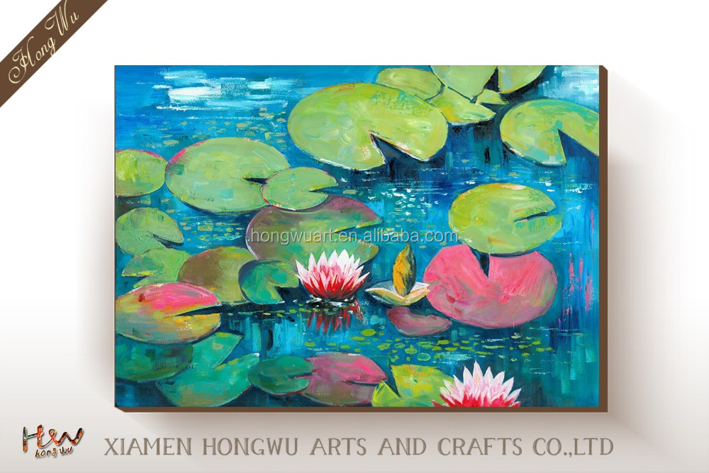 Picture Of Decorate Canvas Lotus Flower Oil Painting