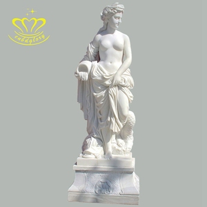 Cheap european style stone carving New product nature marble women angle statue for garden home Decor